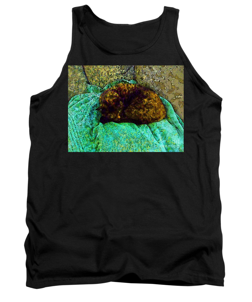 Cat Tank Top featuring the photograph Cozy Calico Cat by Claire Bull