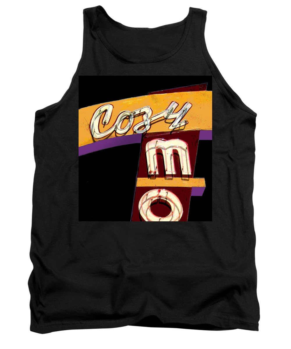 Mid Century Tank Top featuring the photograph Cozy Mo - Black by Larry Hunter