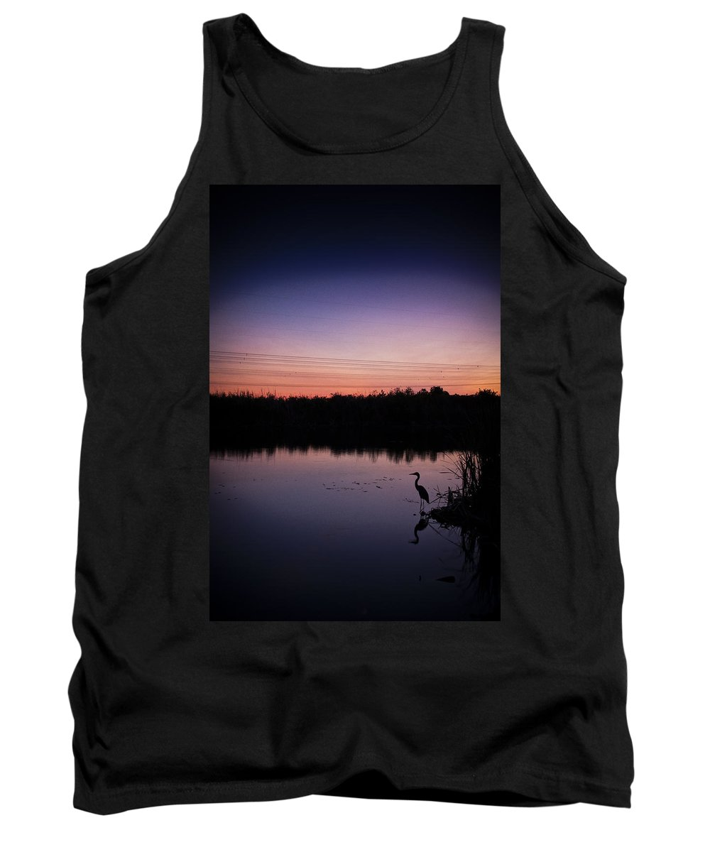 Crane Tank Top featuring the photograph Crane Under Wires At Sunset by Bradley R Youngberg
