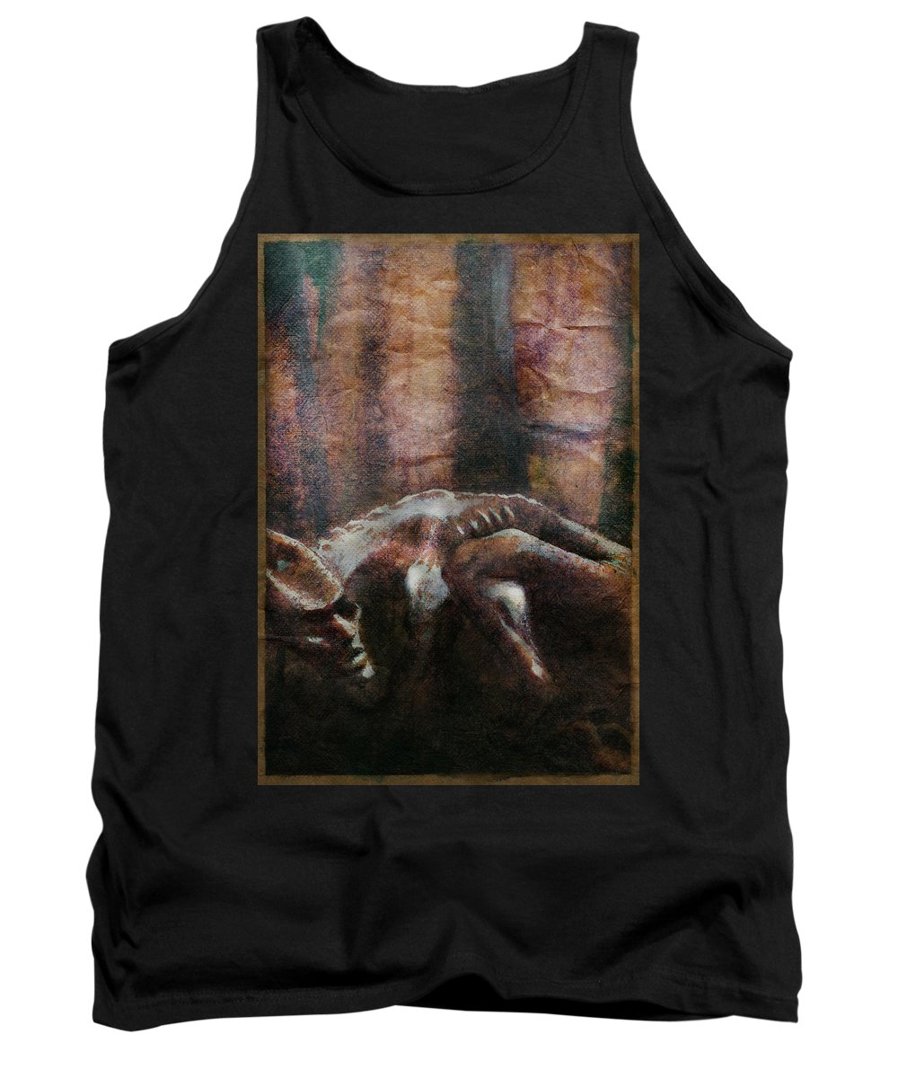 Creature Tank Top featuring the mixed media Creature by Eddie Rifkind