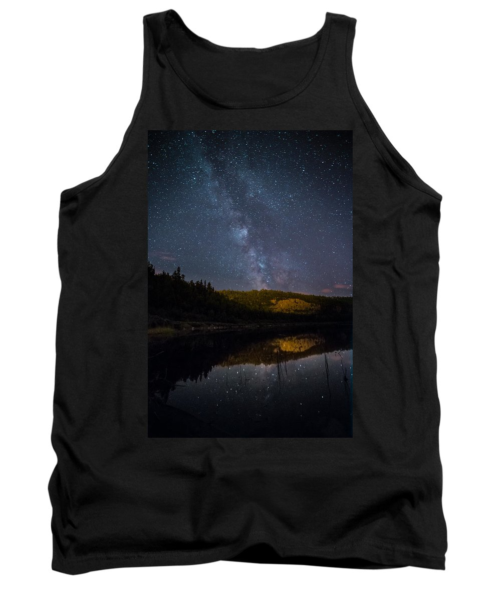 Astrophotography Tank Top featuring the photograph Crescent Lake Midnight by Jakub Sisak