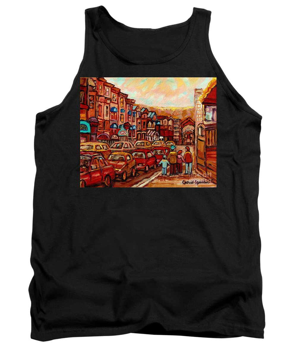 Montreal Streetscenes Tank Top featuring the painting Crescent Street Family Stroll Montreal City In Autumn City Scene Paintings Carole Spandau by Carole Spandau