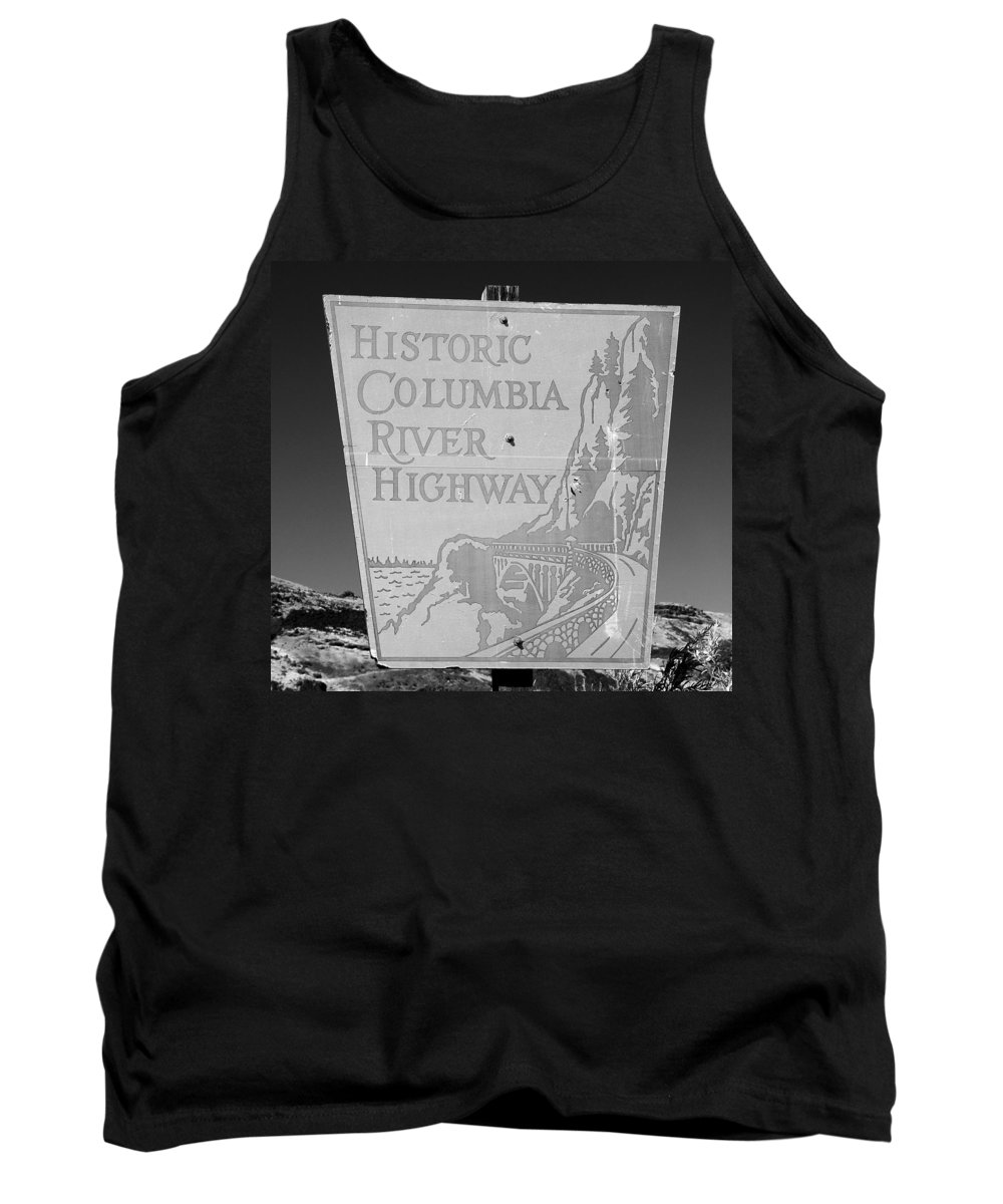 Columbia River Highway Sign Tank Top featuring the photograph Historic Columbia River Highway Sign by David Lee Thompson