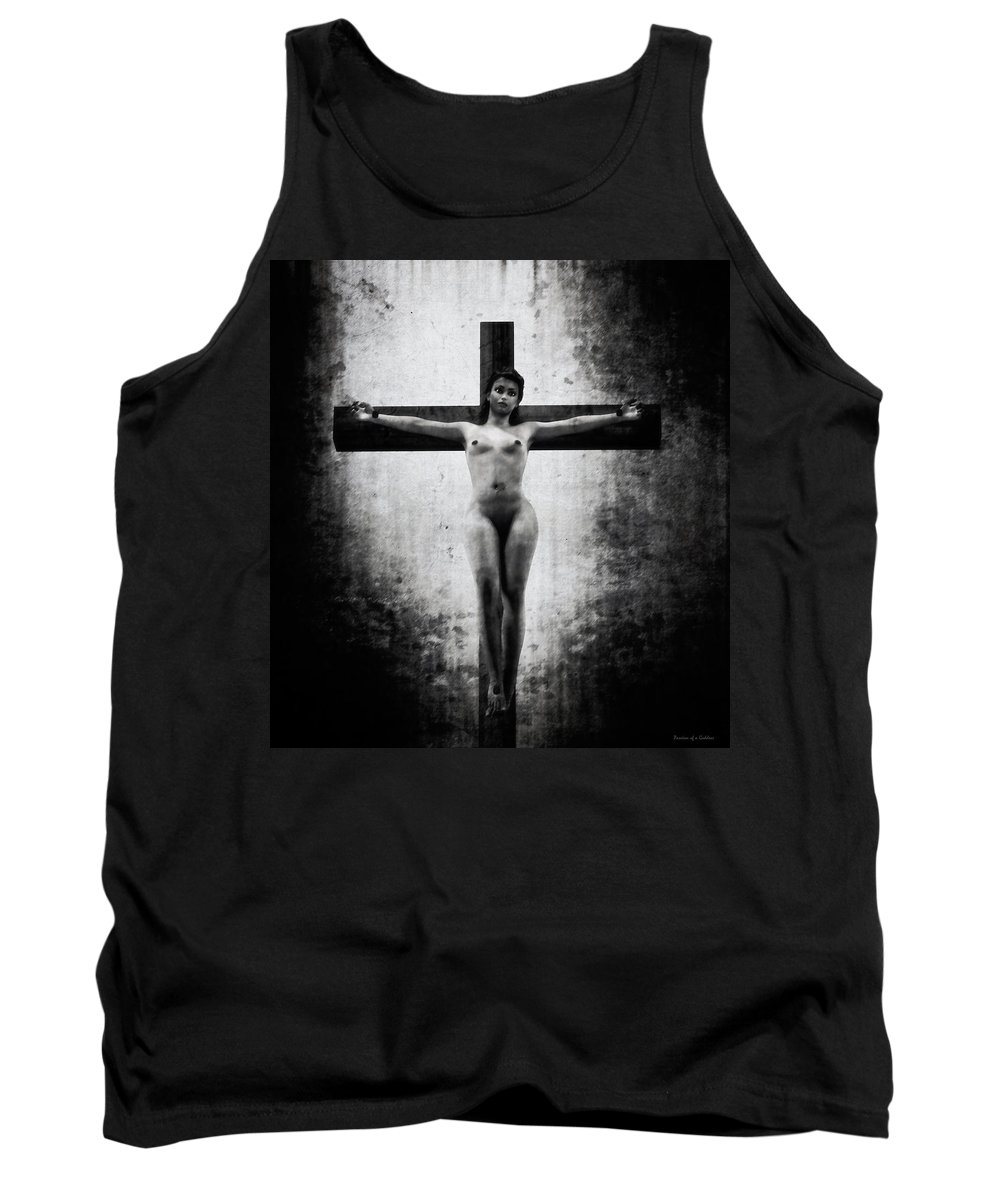 Crucifix Tank Top featuring the digital art Crucifix In Black And White II by Ramon Martinez
