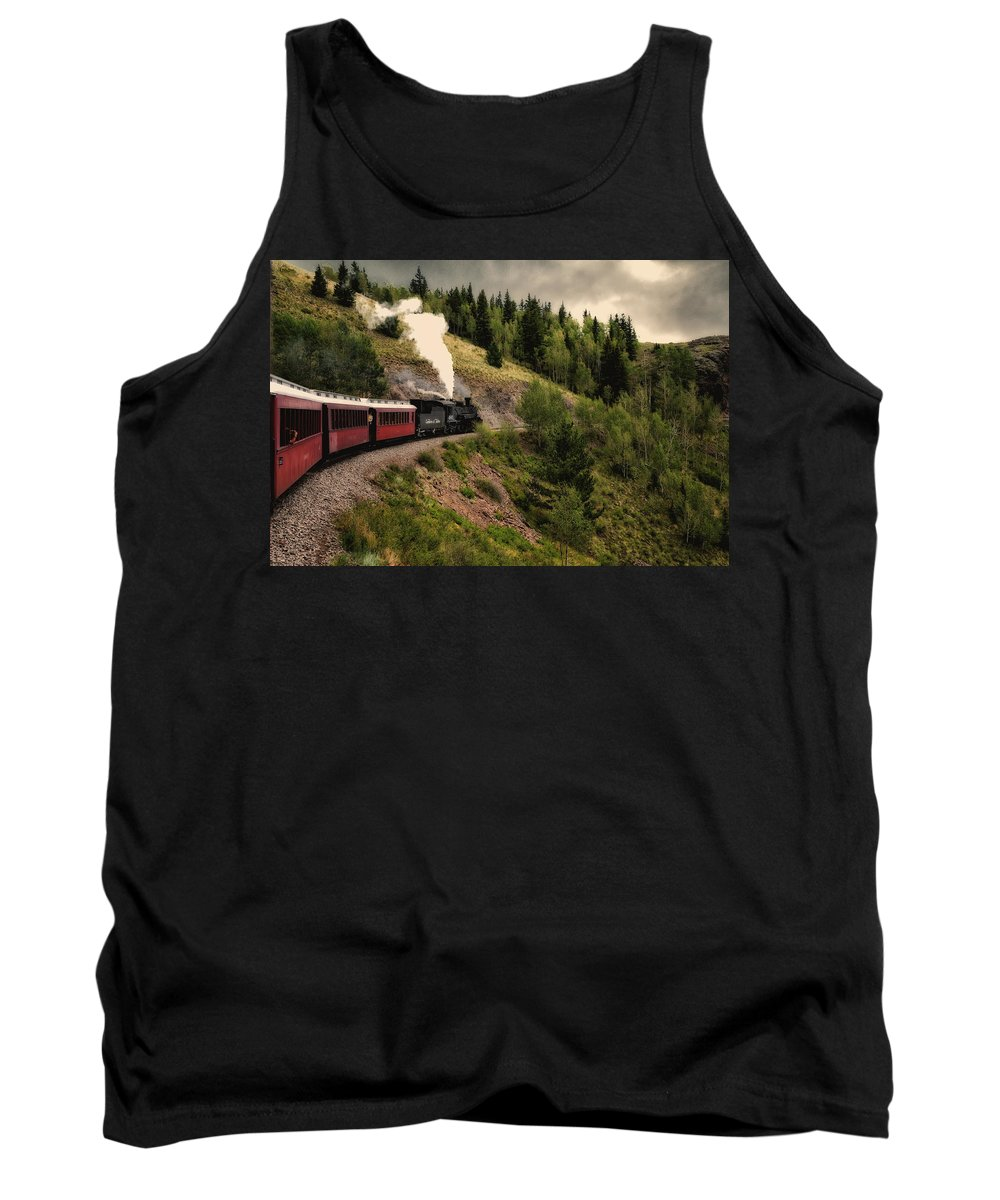 Cumbres Tank Top featuring the photograph Cumbres And Toltec Train Co And Hm by Greg Kluempers