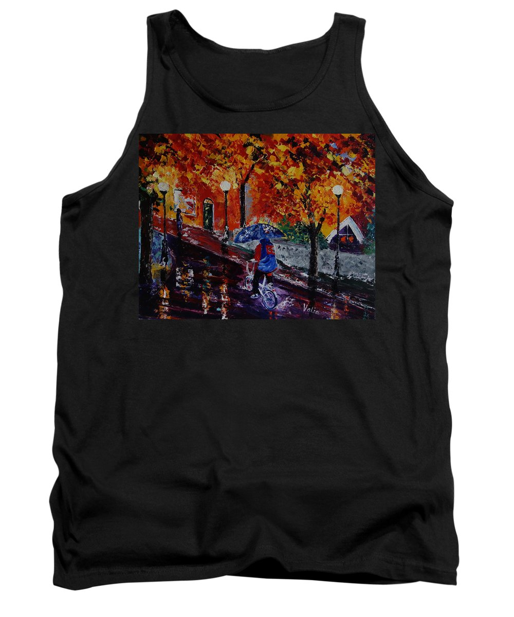 Bicycle Tank Top featuring the painting Cycling In The Rain by Valerie Curtiss
