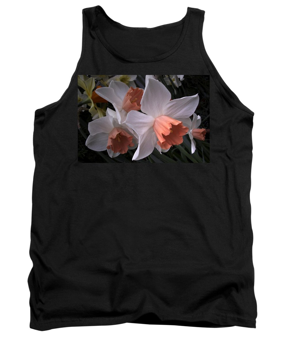 Flower Tank Top featuring the photograph Daffodils With Coral Center by Nancy Griswold