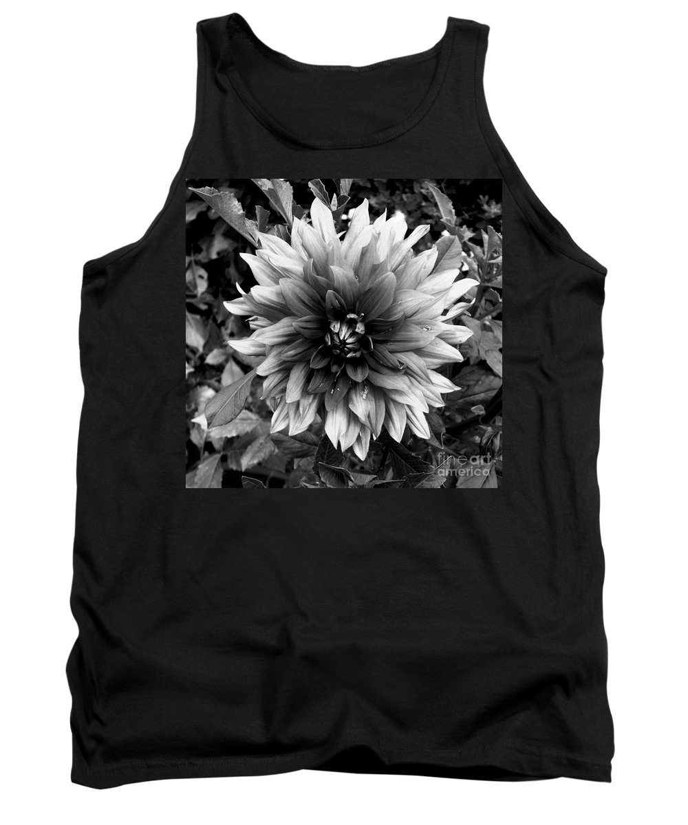 Dahlia Flower Black And White Tank Top featuring the photograph Dahlia In Black And White by Kitrina Arbuckle