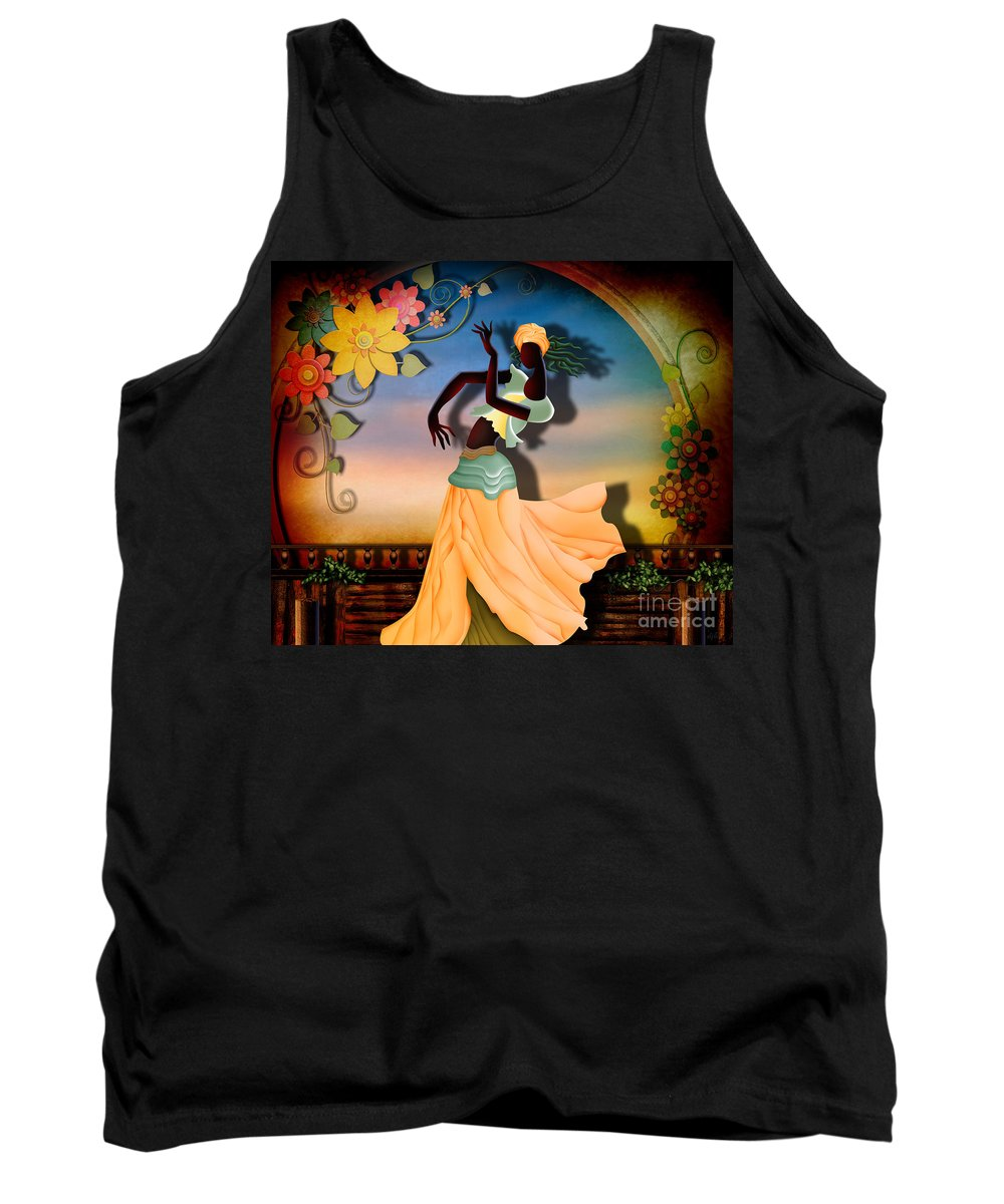 Digital Tank Top featuring the digital art Dancer Of The Balcony by Peter Awax