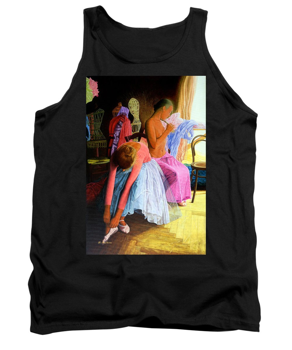 Girls Tank Top featuring the painting Dancers by Dimitrios Gonalakis