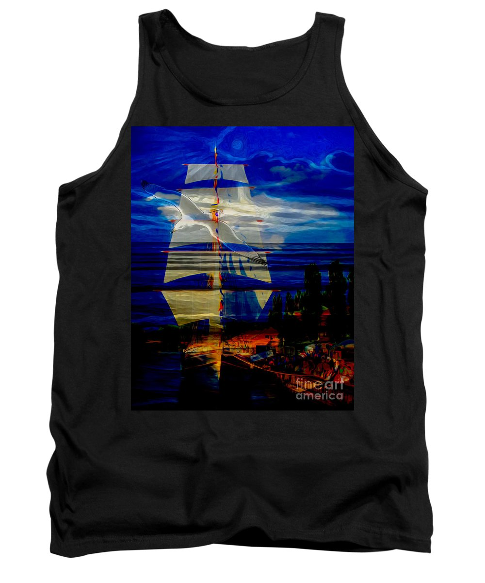 Nature Tank Top featuring the digital art Dark Moonlight With Sails And Seagull by Algirdas Lukas