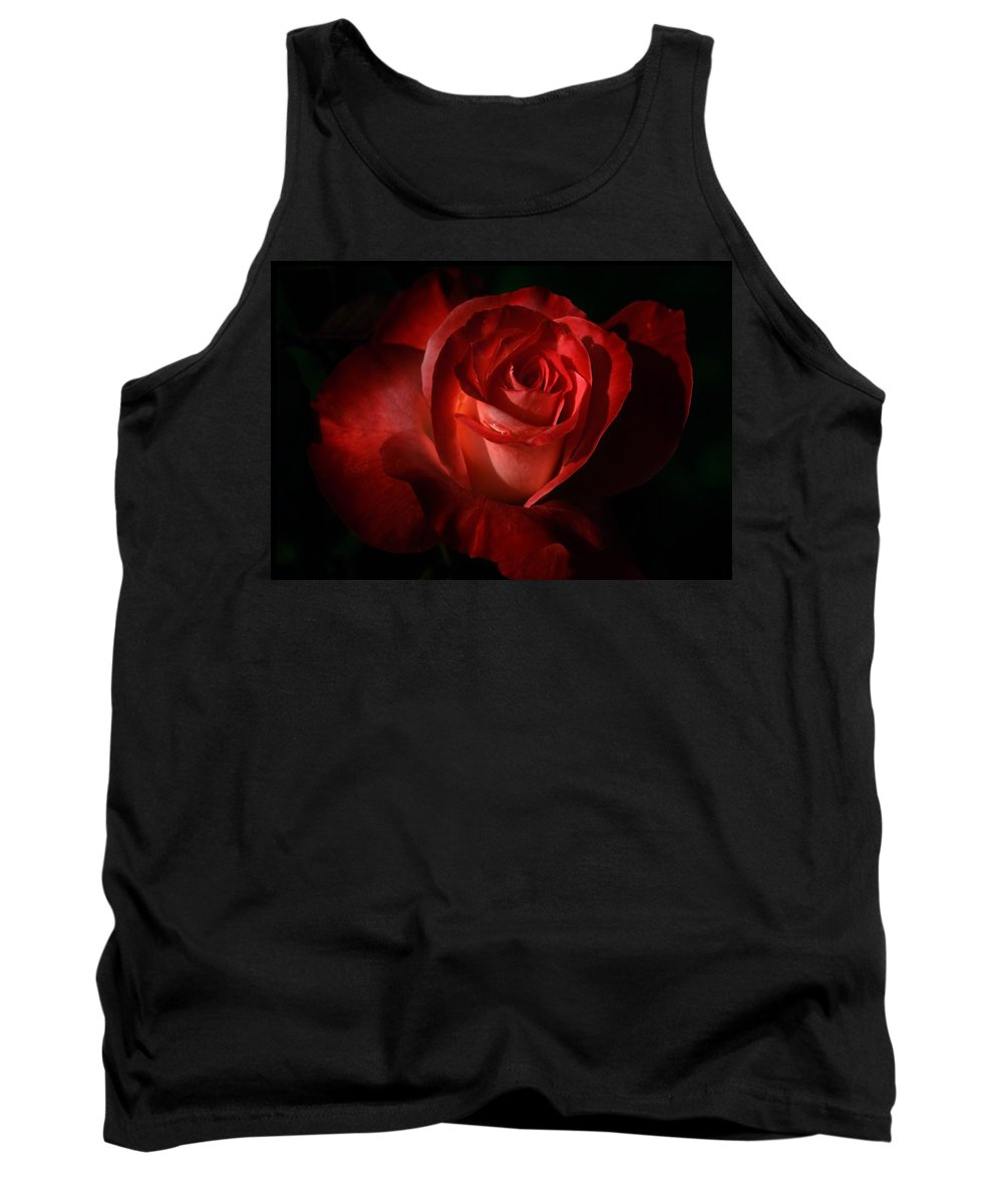 Bloom Tank Top featuring the photograph Dark Red Rose by Robert Bartow