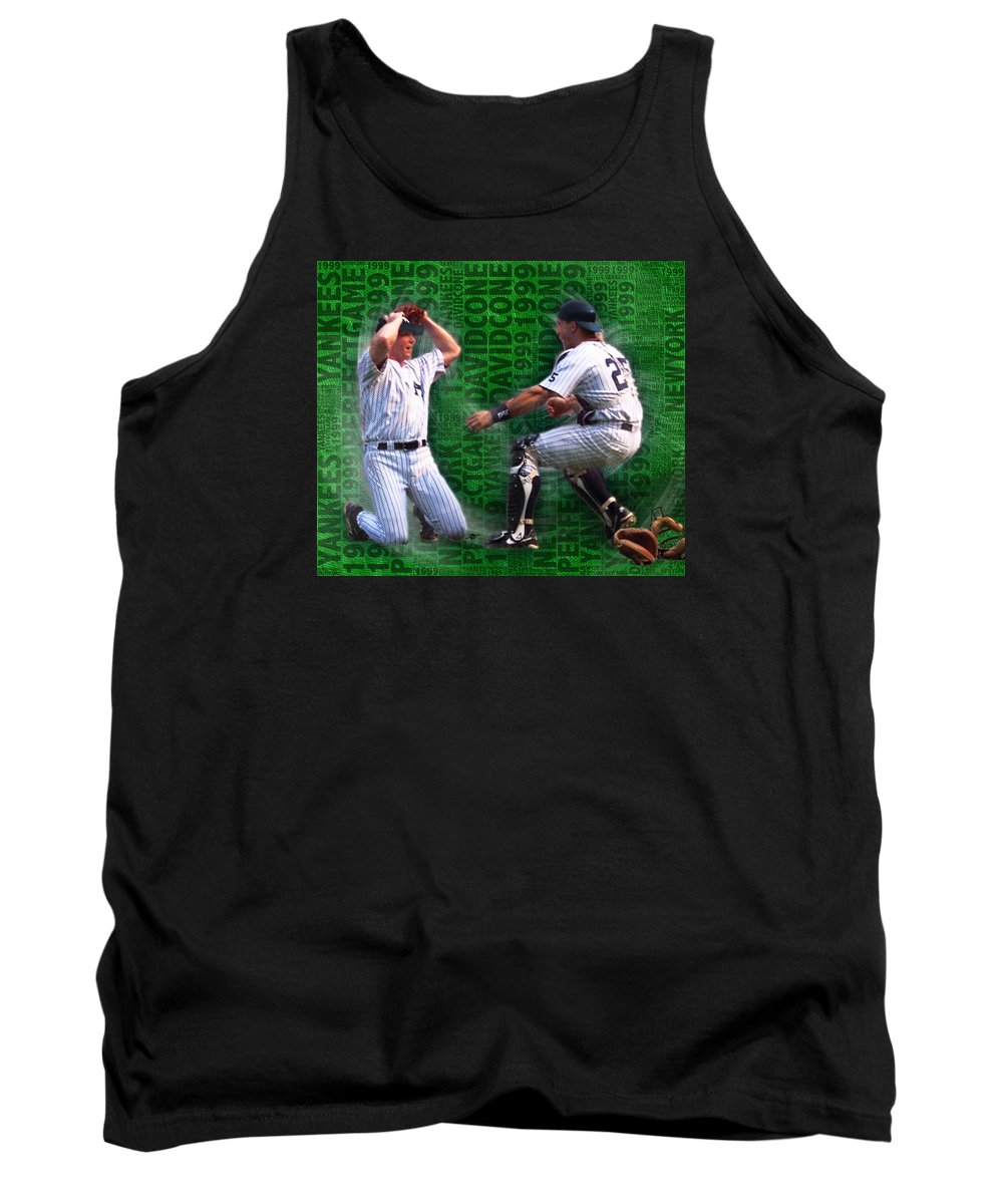 David Cone Tank Top featuring the painting David Cone Yankees Perfect Game 1999 Zoom by Tony Rubino