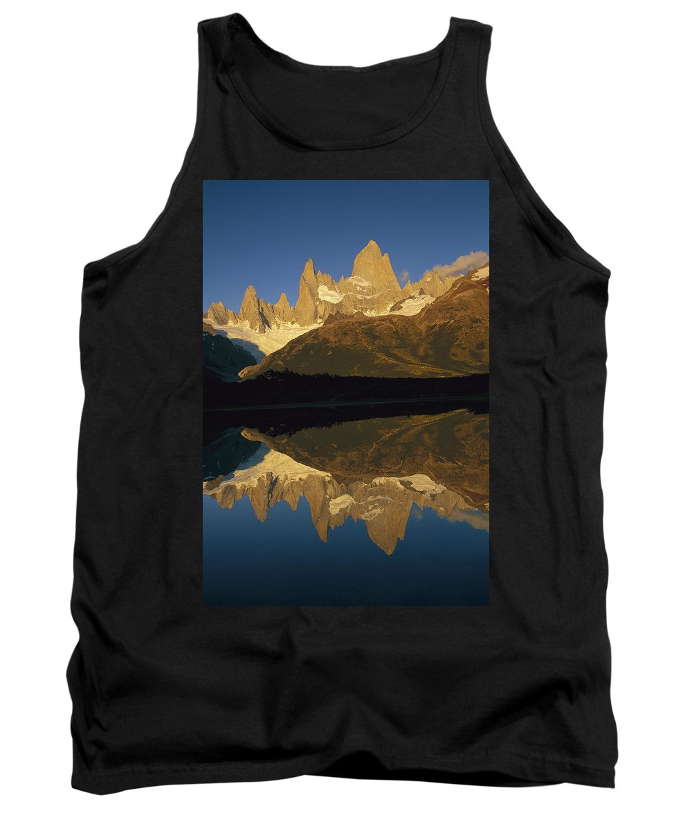 Feb0514 Tank Top featuring the photograph Dawn Fitzroy Massif Reflection Patagonia by Colin Monteath