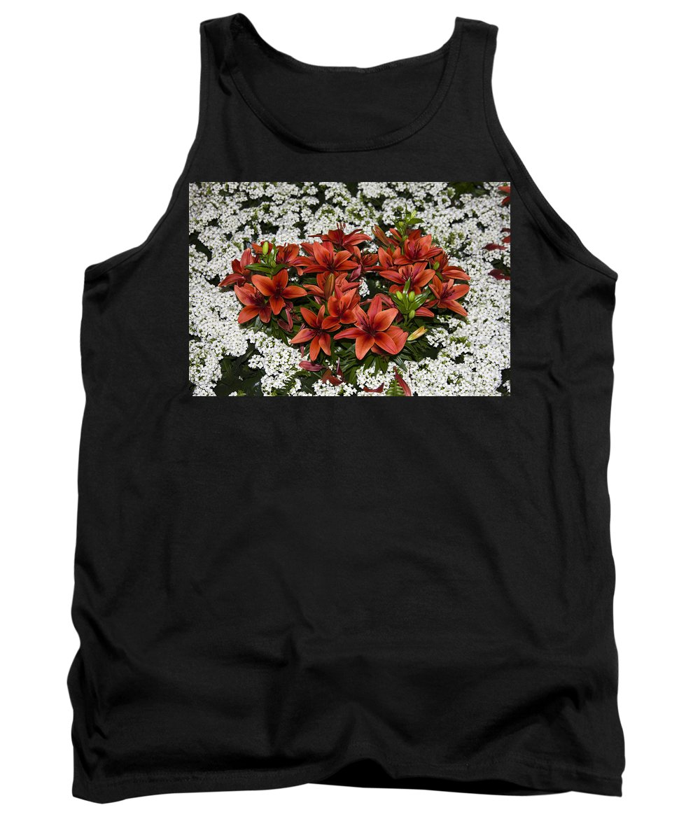 Burnt Orange Day Lillies Tank Top featuring the photograph Day Lillies by Sally Weigand