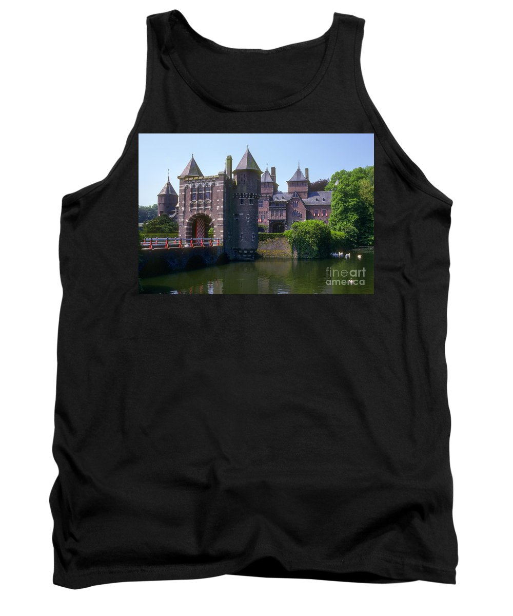 De Haar Castle. Utrecht. Netherlands. Castle Tank Top featuring the photograph De Haar Castle And Moat by Bob Phillips