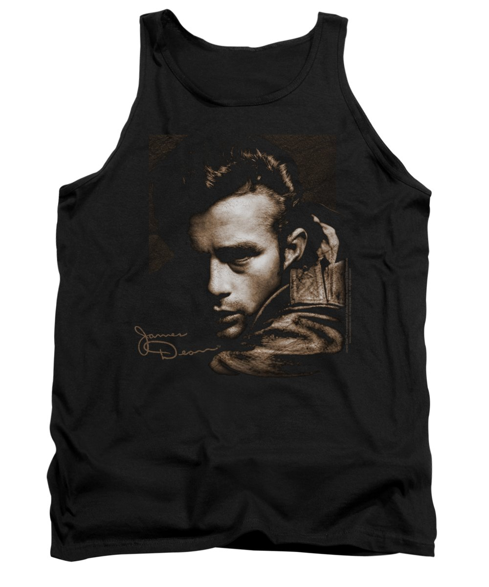 James Dean Tank Top featuring the digital art Dean - Brown Leather by Brand A