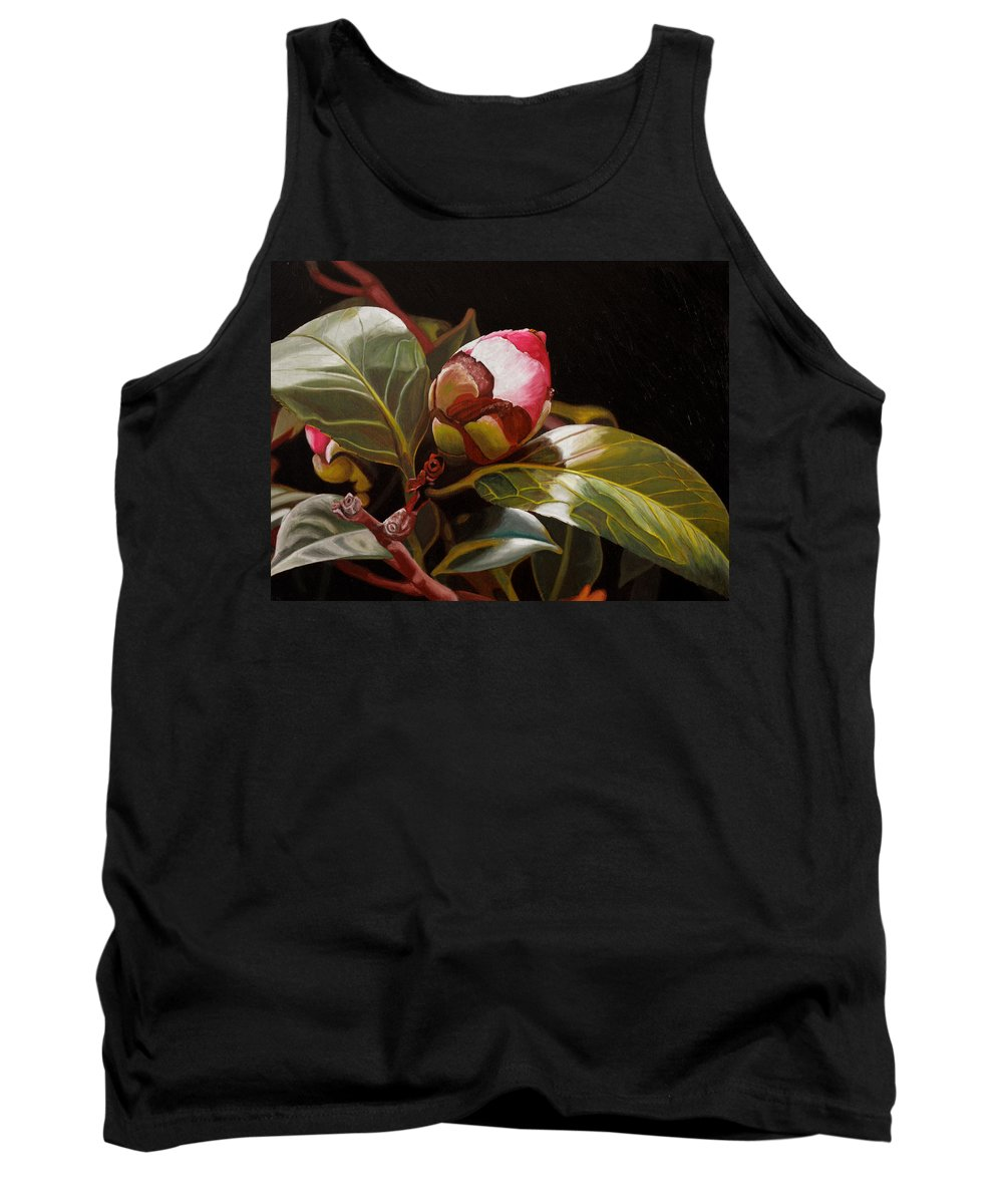 Rose Tank Top featuring the painting December Rose by Thu Nguyen