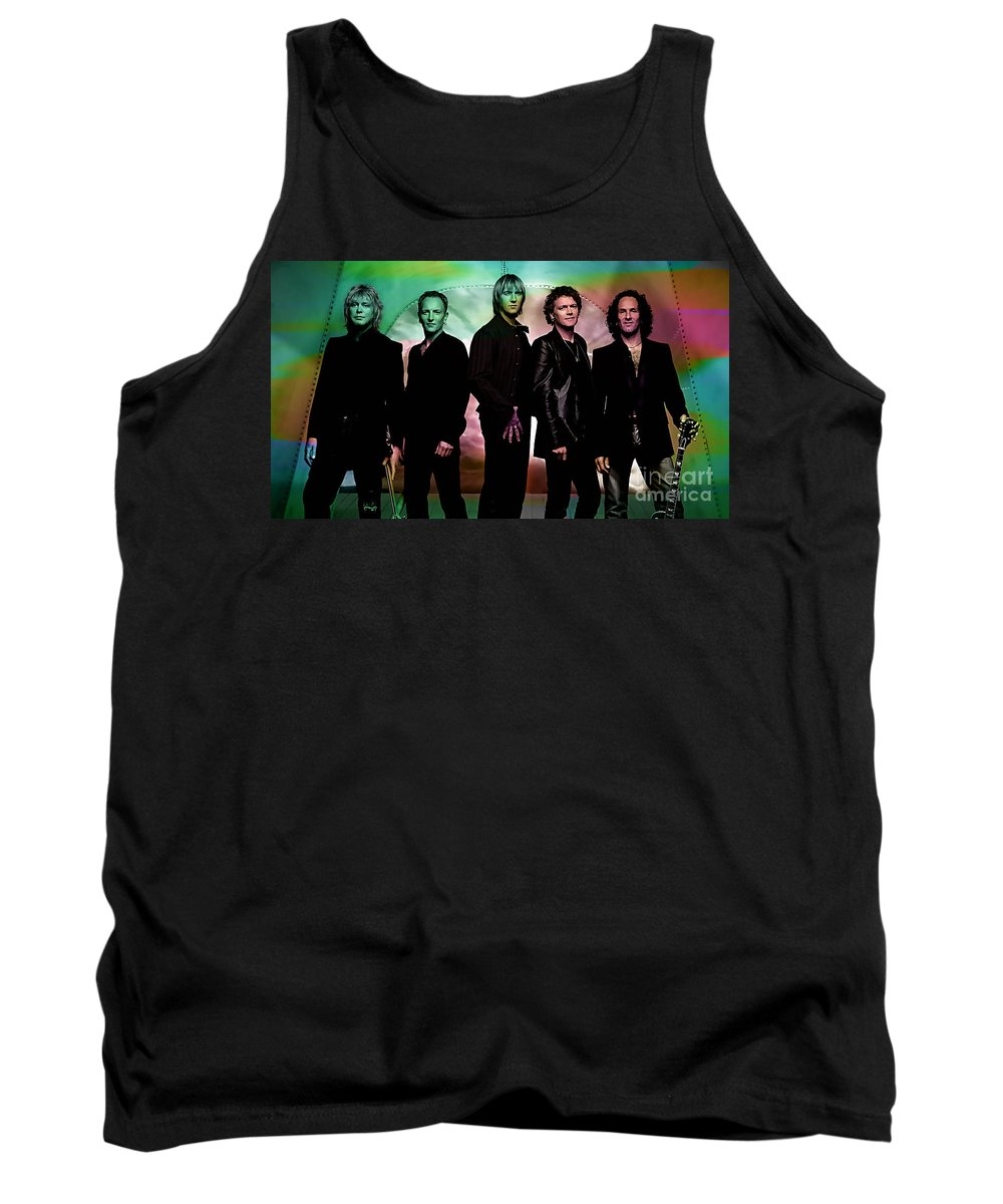 Def Leppard Photographs Tank Top featuring the mixed media Def Leppard by Marvin Blaine