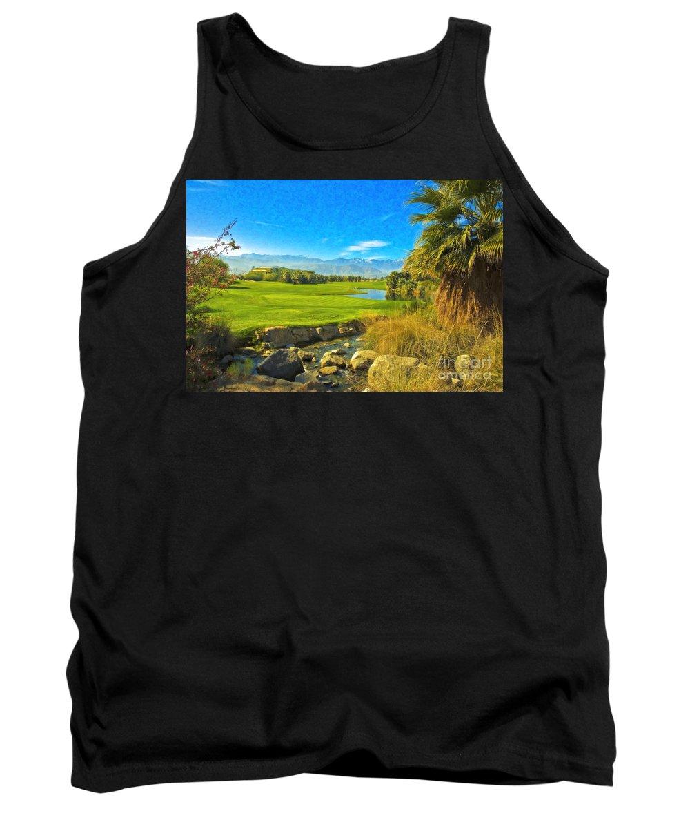 Golfing At Desert Willow Golf Course Palm Desert Ca Tank Top featuring the photograph Desert Golf Resort Pastel Photograph by David Zanzinger