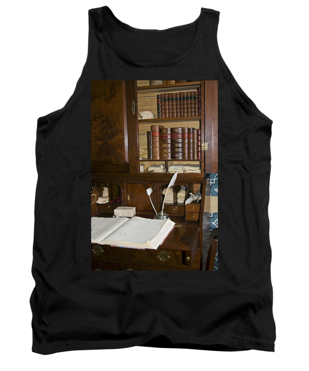 Colonial Desk Tank Top featuring the photograph Desk With Quill Pens by Sally Weigand