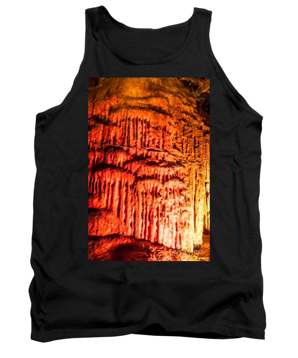 howe Caverns Tank Top featuring the photograph Devils Stalactite by Anthony Sacco