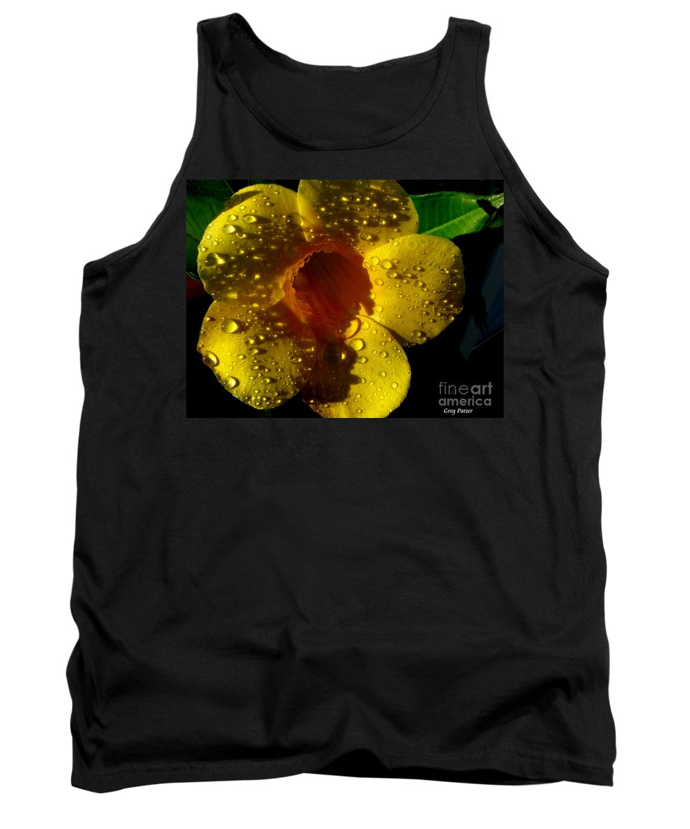 Patzer Tank Top featuring the photograph Dew Trumpet by Greg Patzer