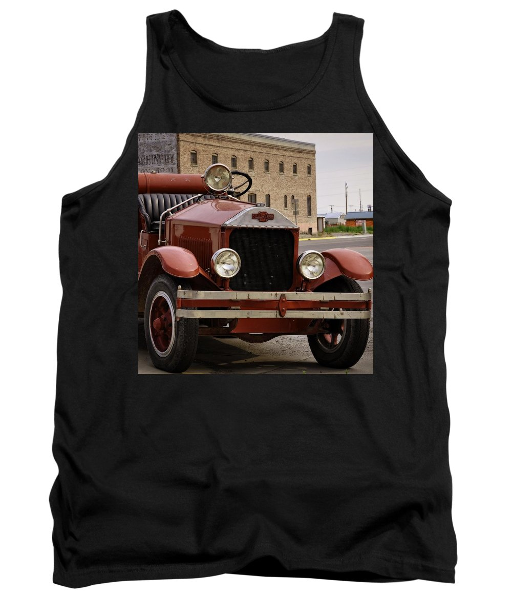Dillon Tank Top featuring the photograph Dillon Montana Vintage Fire Truck by Image Takers Photography LLC - Laura Morgan