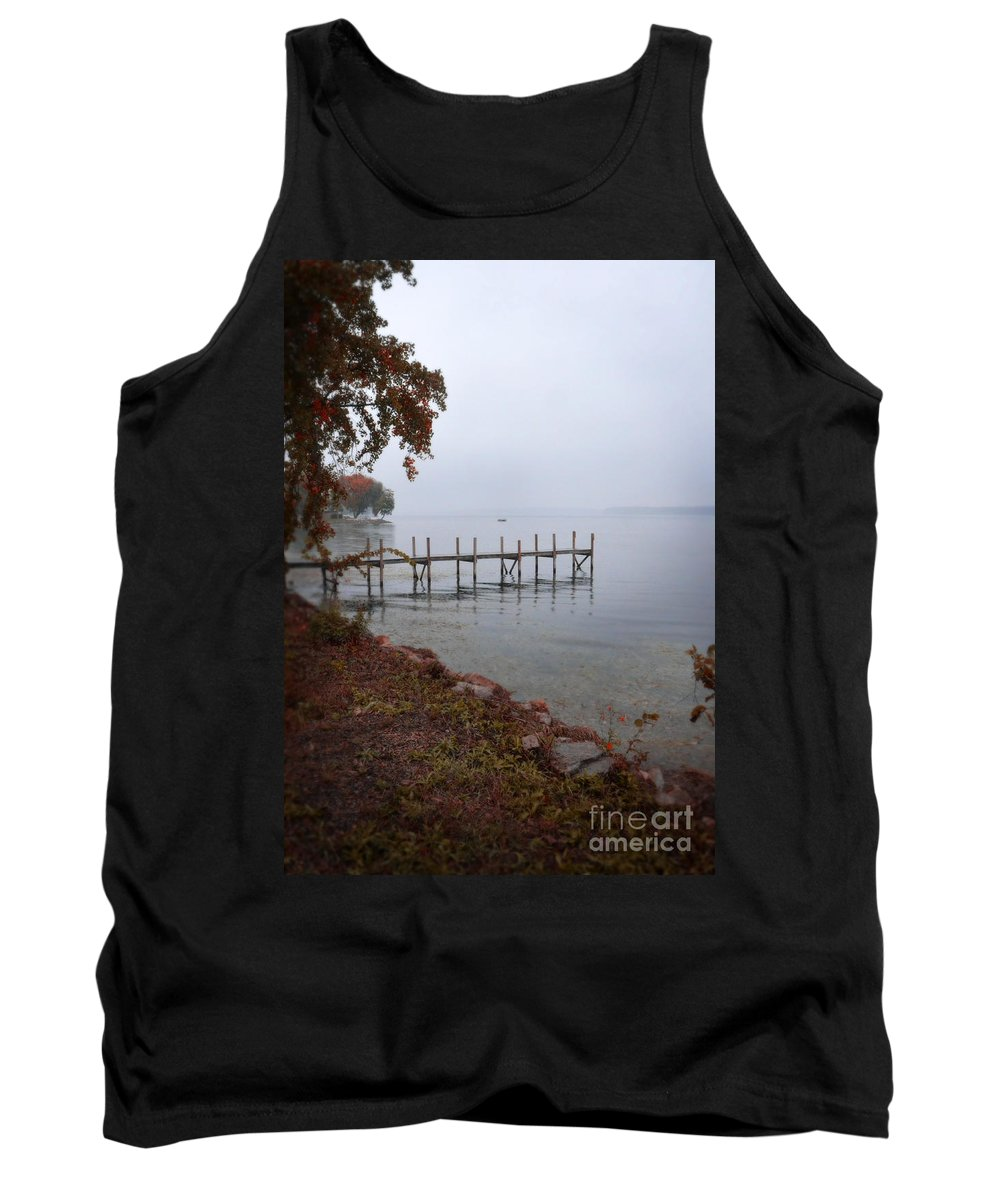 Water Tank Top featuring the photograph Dock On A Lake In Autumn by Jill Battaglia