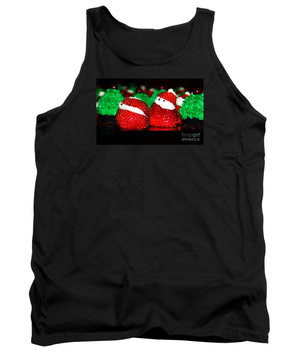 Food Anthropomorphism Cute Holiday Whimsical Strawberries Santas Christmas Holiday Card Pareidolia Nature Kitchen Humor Faces Kids Red Green Metal Frame Canvas Print Poster Print Available On Greeting Cards Phone Cases T Shirts Throw Pillows Duvet Covers Tote Bags Shower Curtains And Now Mugs Tank Top featuring the photograph Don't Let Them Eat Us by Marcus Dagan