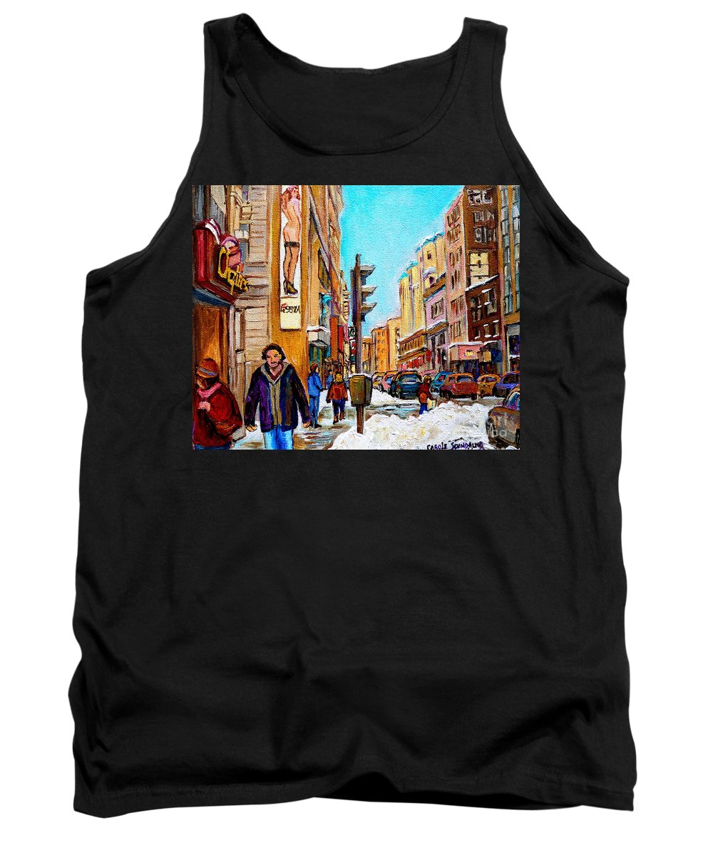 La Senza Lingerie Tank Top featuring the painting Downtown City Life by Carole Spandau