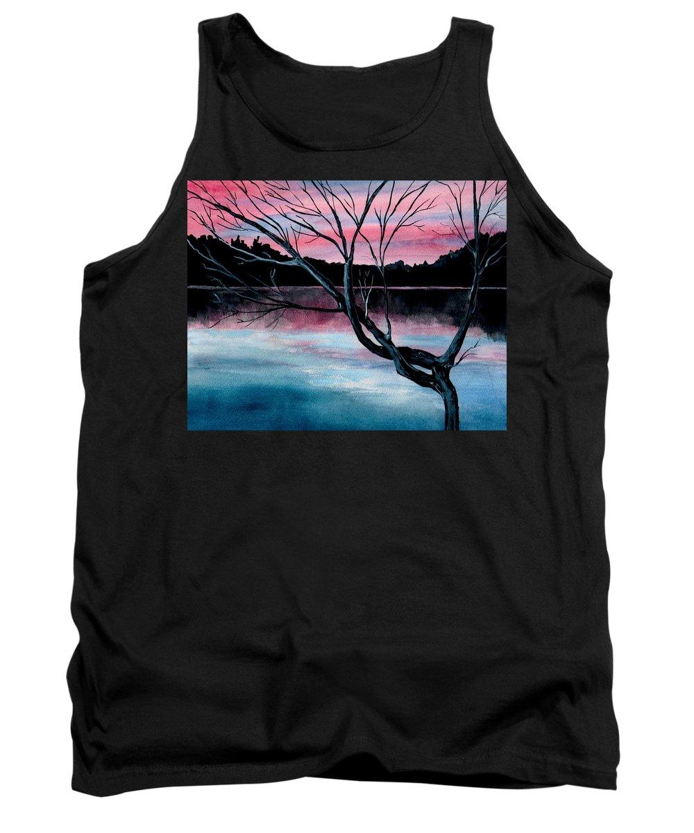 Landscape Tank Top featuring the painting Dusk Lake Arrowhead Maine by Brenda Owen
