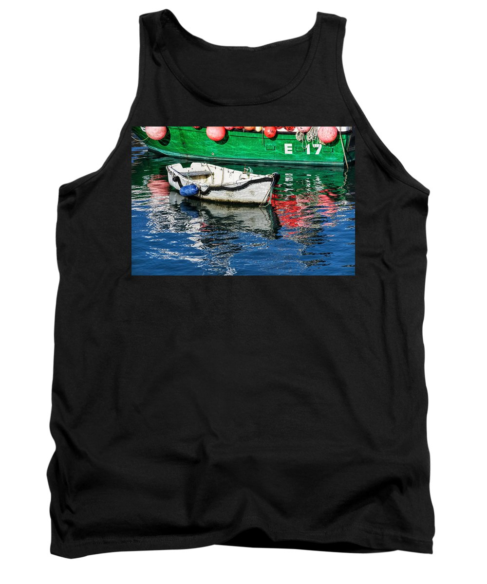 E17 Tank Top featuring the photograph E17 Reflections - Lyme Regis Harbour by Susie Peek