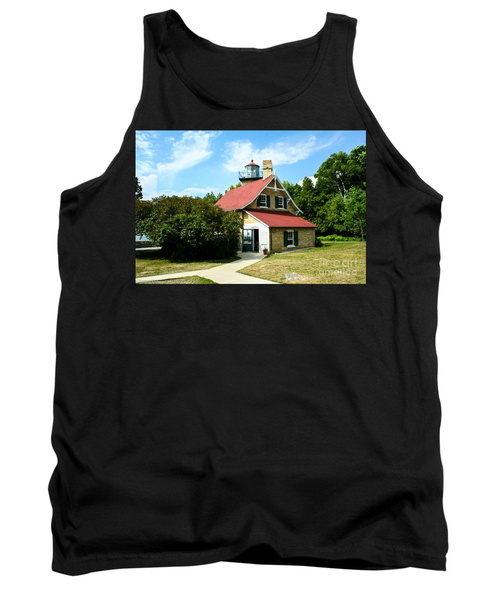 Eagle Bluff Tank Top featuring the photograph Eagle Bluff Lighthouse by Tommy Anderson