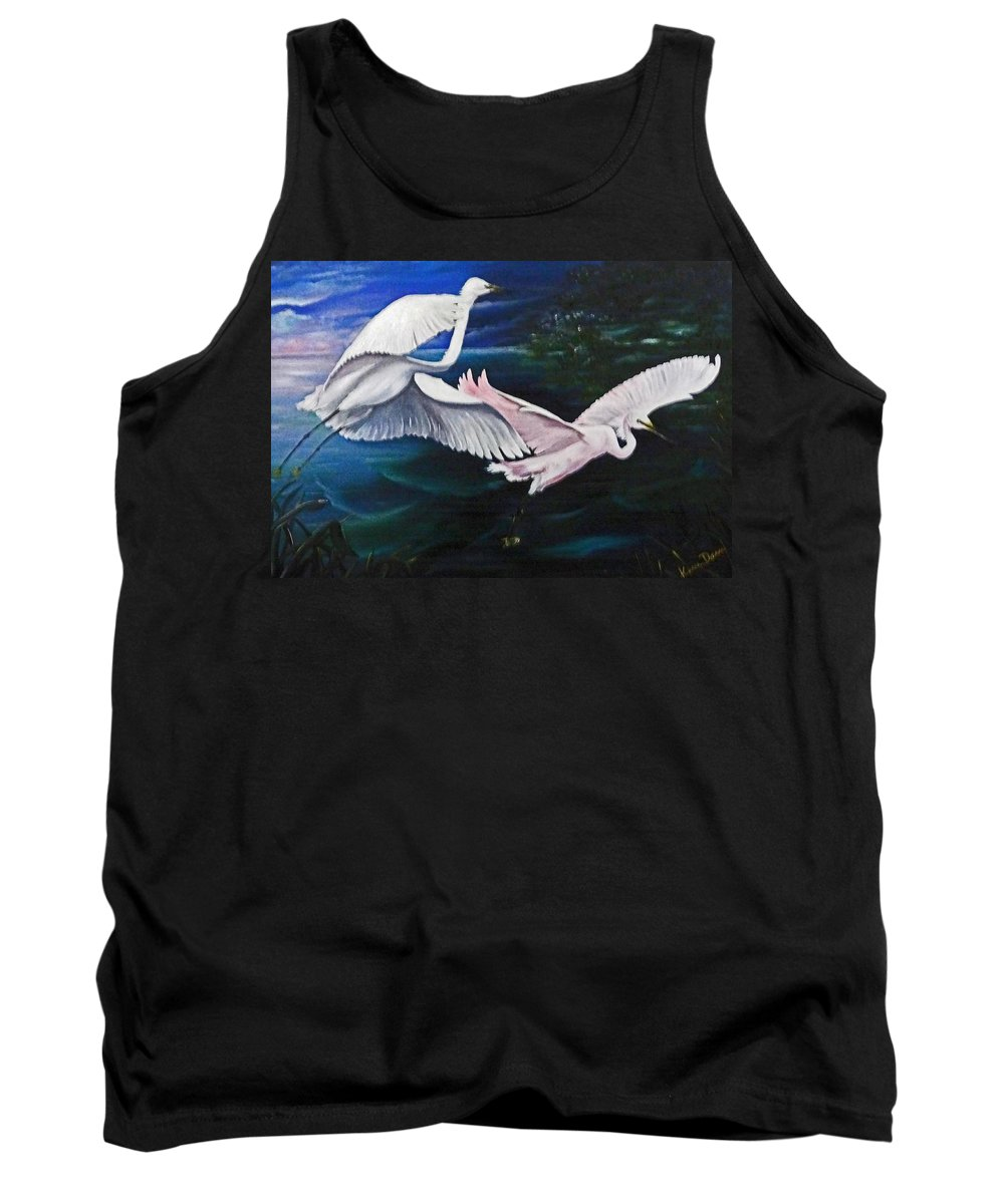 Snowy Egrets Tank Top featuring the painting Early Flight by Karin Dawn Kelshall- Best
