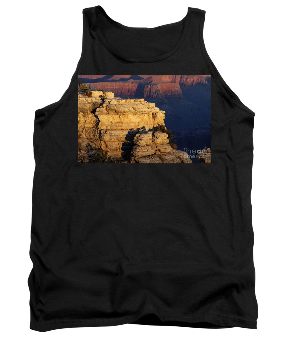 Grand Canyon National Park Arizona Parks South Rim Canyons Rock Formations Rock Formation Sunrise Sunrises Landscape Landscapes Tank Top featuring the photograph Early Light In The Canyon by Bob Phillips