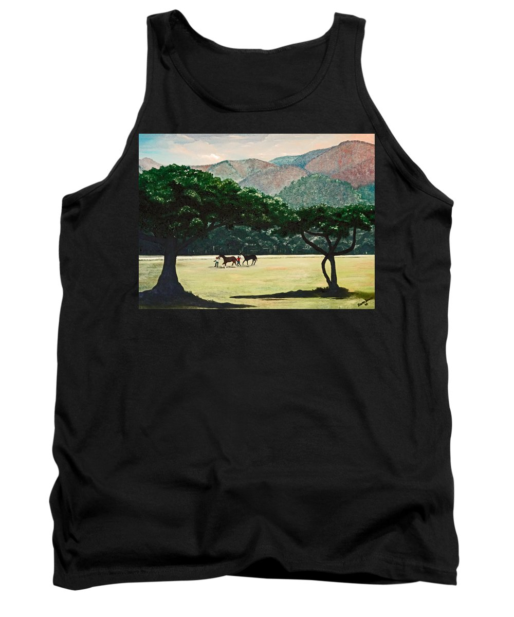 Trees Tank Top featuring the painting Early morning Savannah by Karin Dawn Kelshall- Best