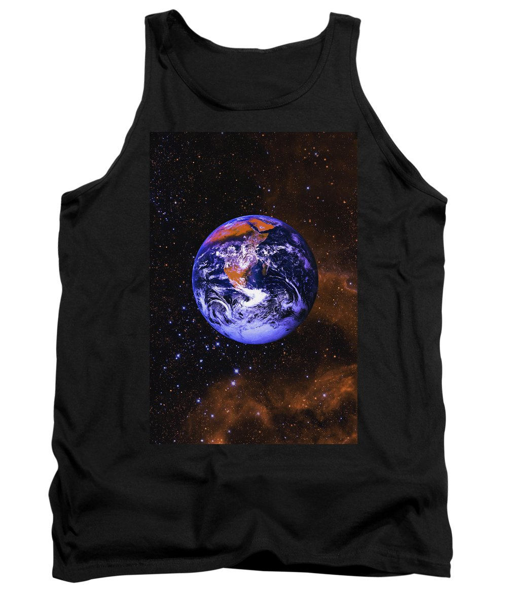 Beginning Tank Top featuring the photograph Earth In Space With Gaseous Nebula And by Don Hammond