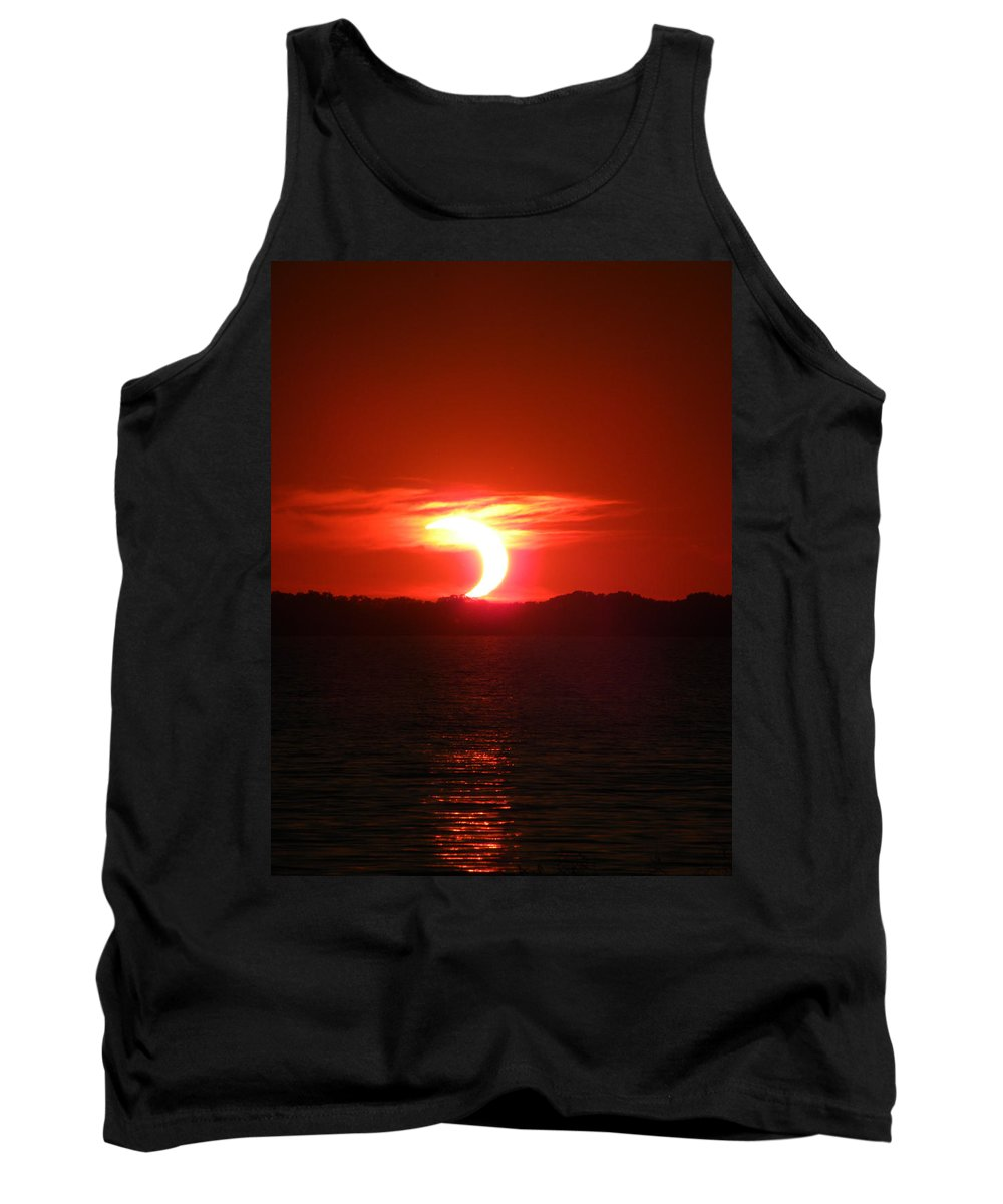 Eclipse Tank Top featuring the photograph Eclipse Over Marion Reservoir 2 by Sheri Lauren