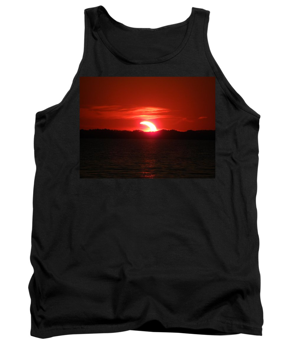 Eclipse Tank Top featuring the photograph Eclipse Over Marion Reservoir 3 by Sheri Lauren