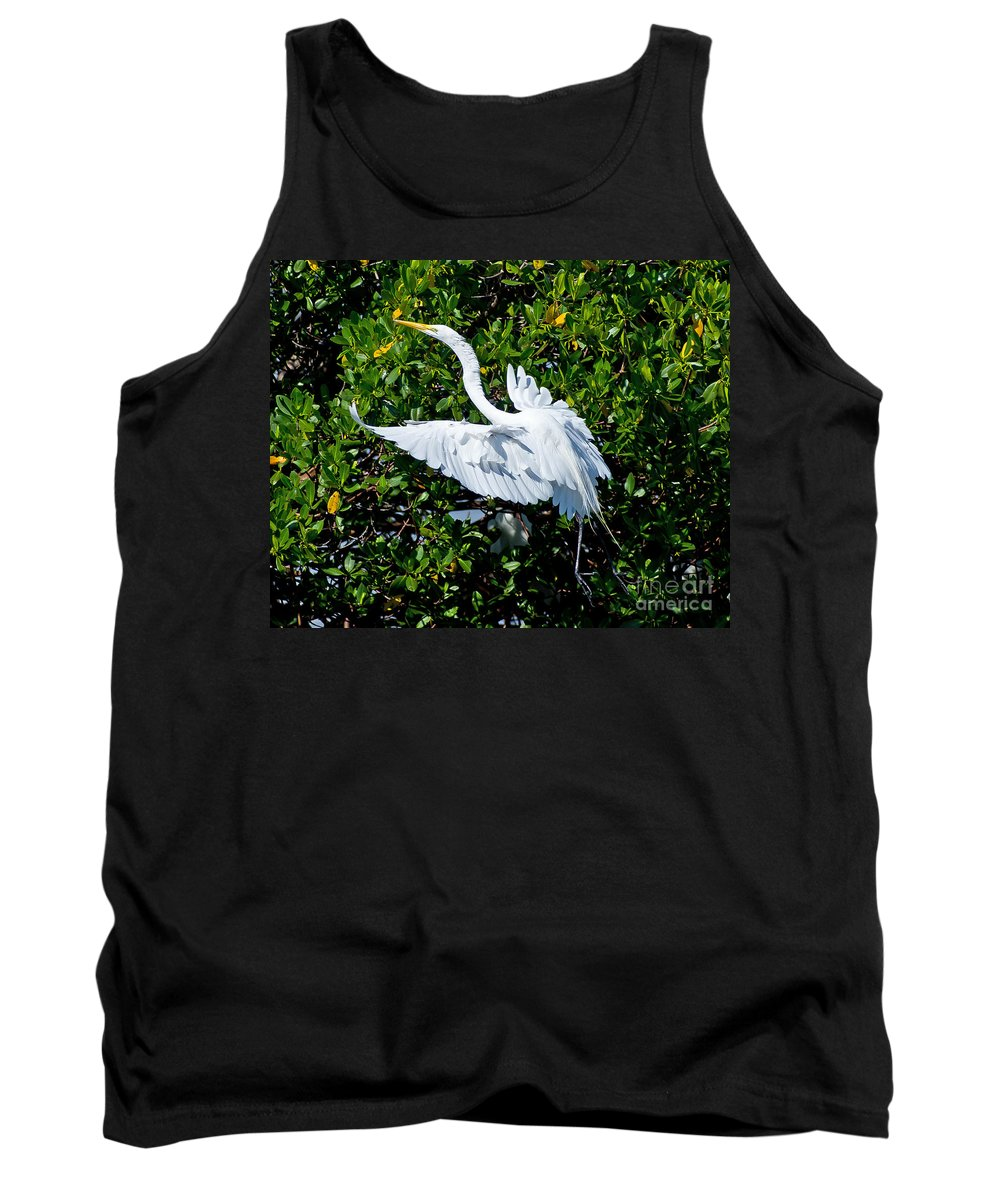 Egret Tank Top featuring the photograph Egret 1 by Stephen Whalen