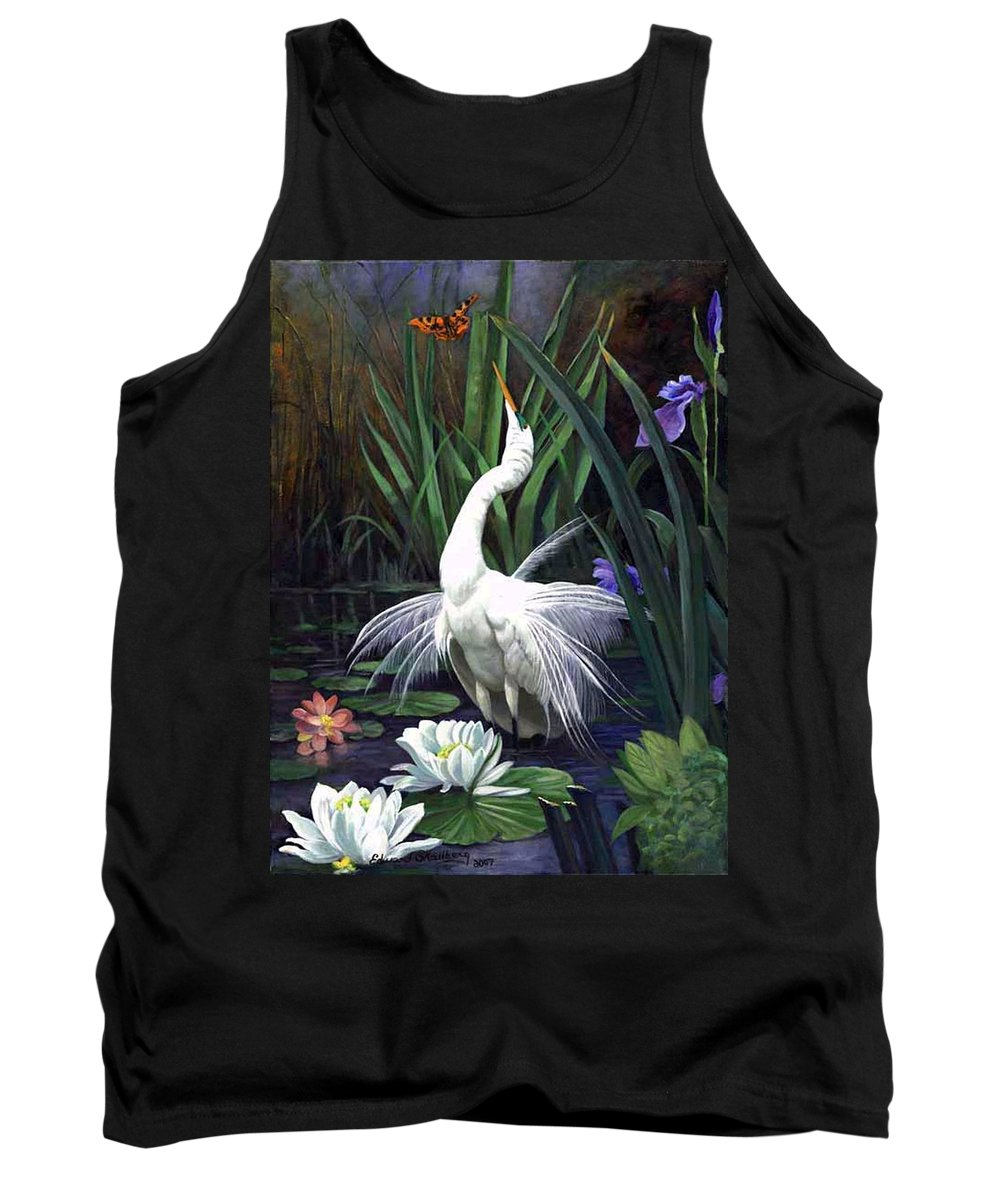 Landscape Tank Top featuring the painting Egret And The Butterfly by Edward Skallberg