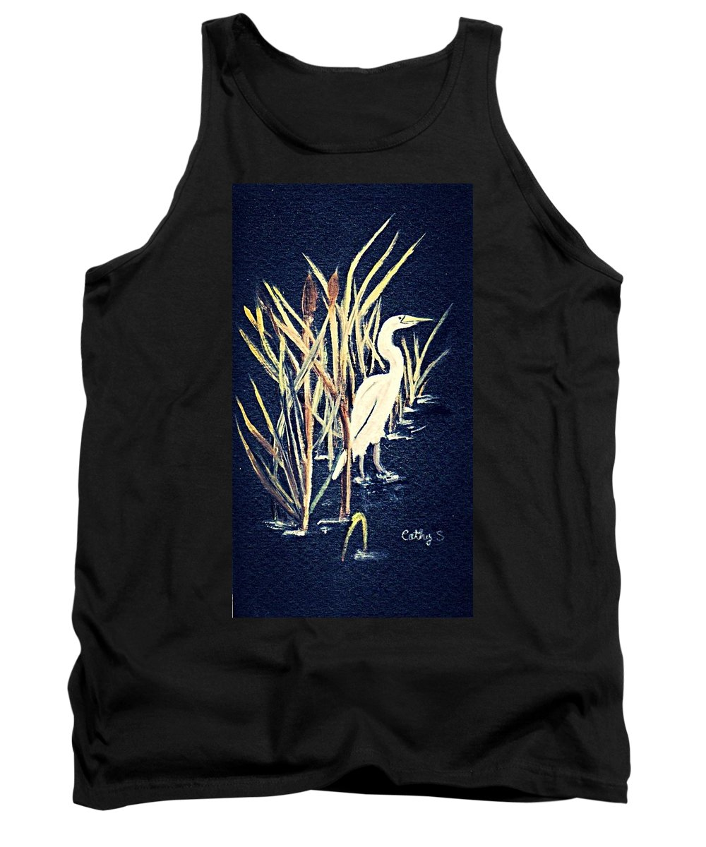 Birds. Wildlife Tank Top featuring the painting Egret by Catherine Swerediuk
