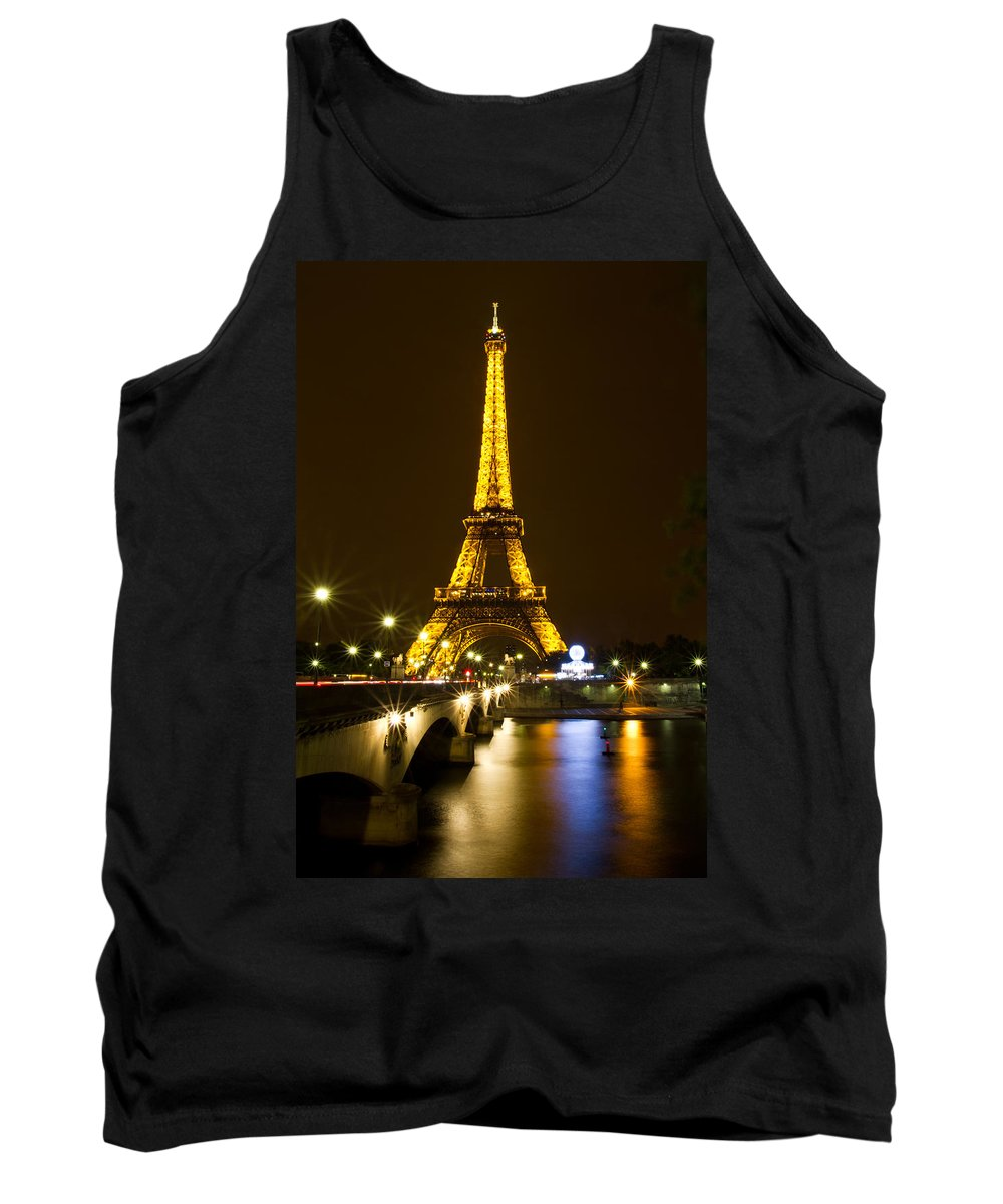 Europe Tank Top featuring the photograph Eiffel At Night by David Freuthal