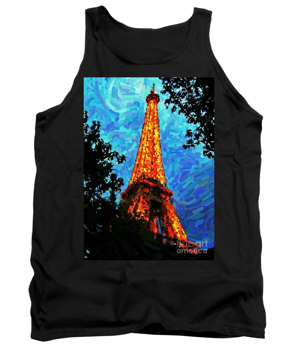 Eiffel Tower Painting Tank Top featuring the digital art Eiffel Tower Impressionist by John Malone