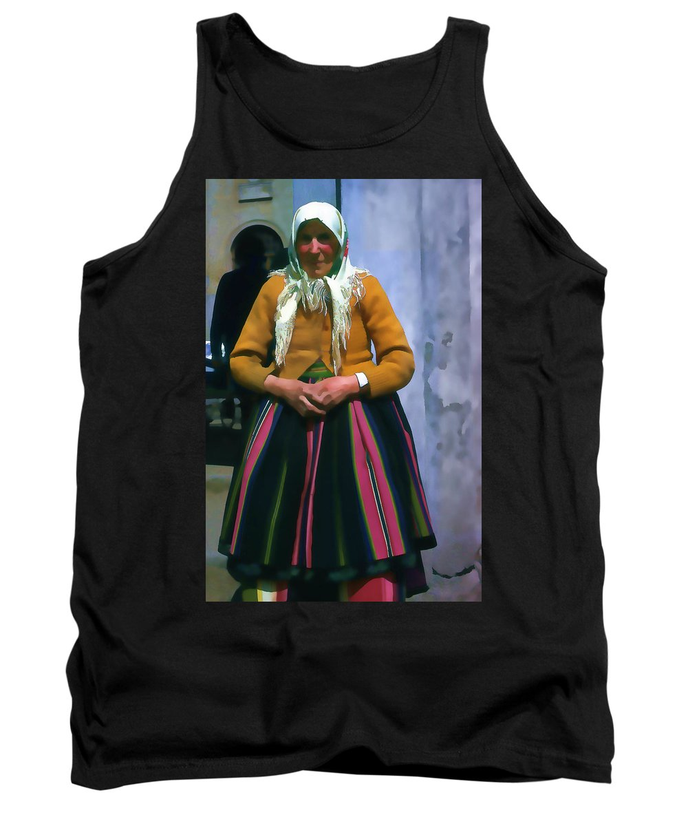 Tank Top featuring the photograph Elderly Woman Stylized Digital Art by Cathy Anderson