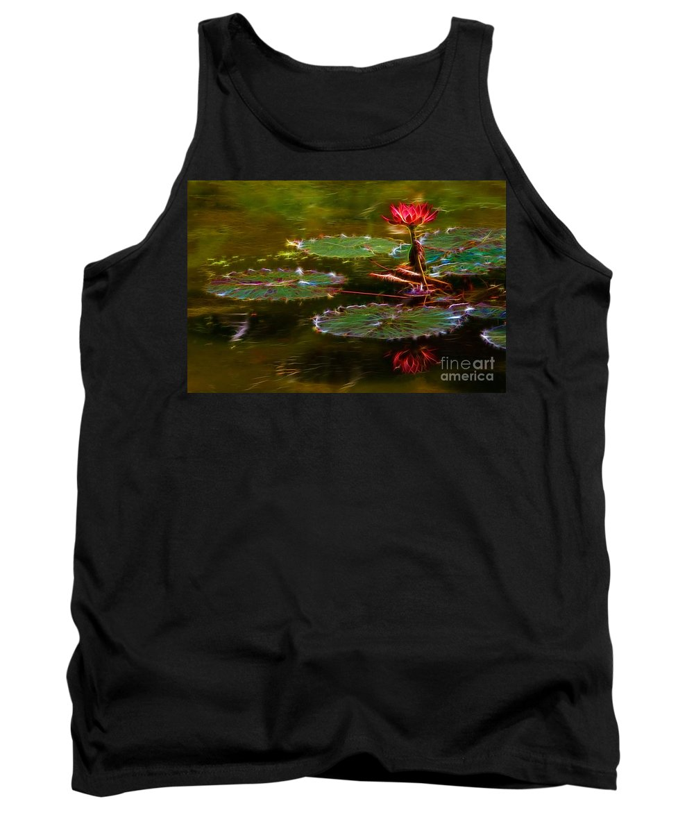 Abstract Tank Top featuring the photograph Electric Lily Pad by Beth Sargent