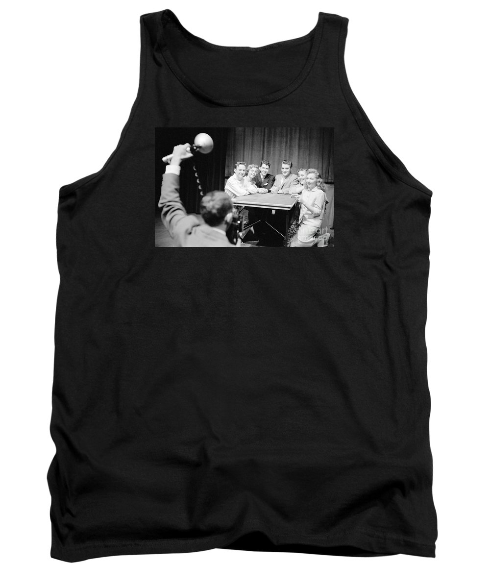 Elvis Presley Tank Top featuring the photograph Elvis Presley Photographed With Fans 1956 by The Harrington Collection