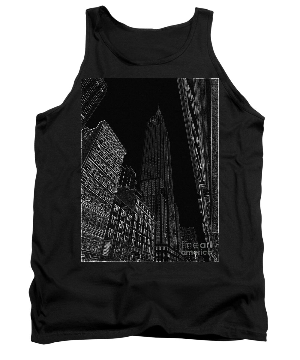 Empire State Building Tank Top featuring the digital art Empire Nyc White On Black by Meandering Photography