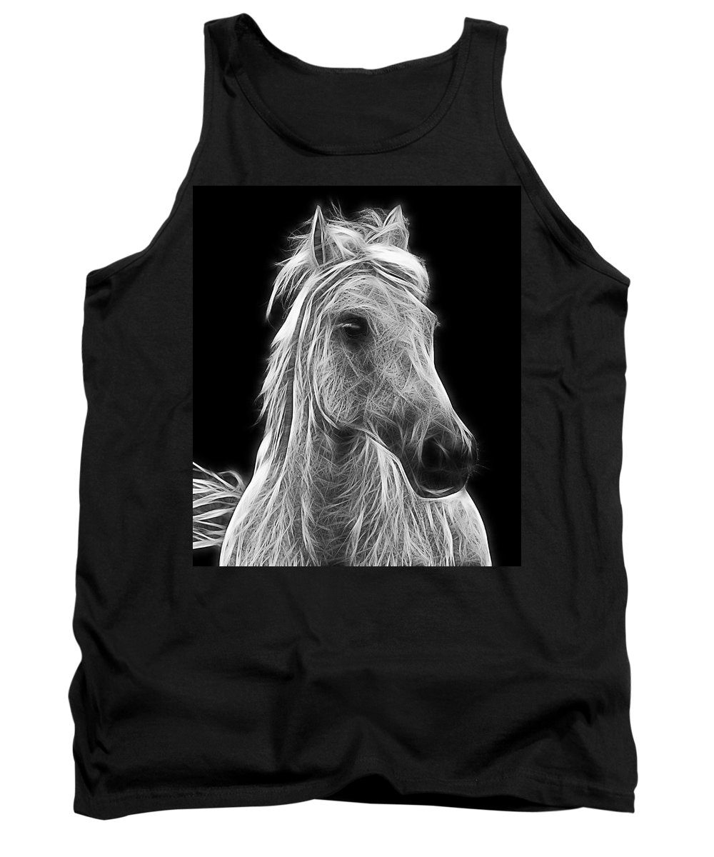 Horse Tank Top featuring the photograph Energetic White Horse by Joachim G Pinkawa